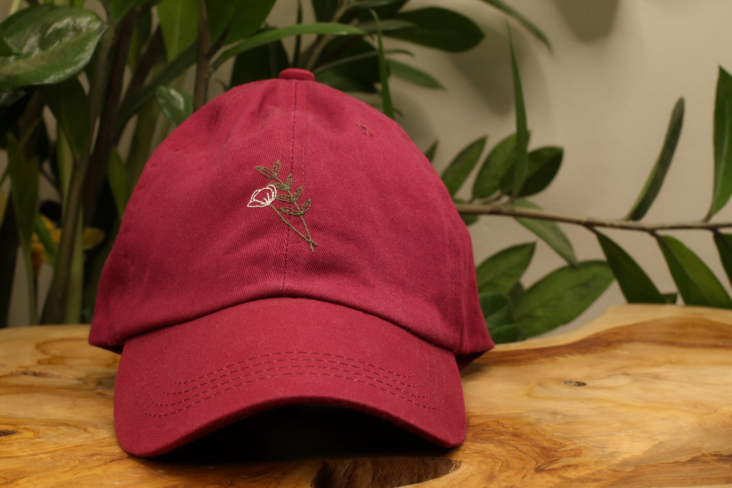 Poppy & Leaves Floral Hand-Embroidered Dad Hat