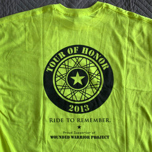 2013 Shirt, black ink on popular hi-viz