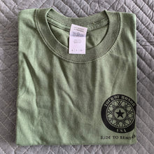 Load image into Gallery viewer, 2015 Shirt, black ink on military green