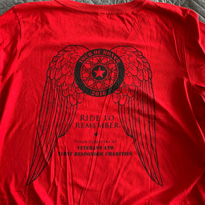 2016 Shirt, black ink on red