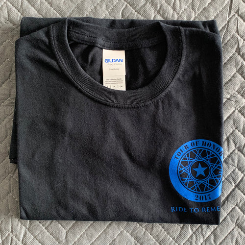 2017 Shirt, blue ink on black