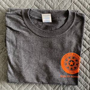 2018 Shirt, orange ink on grey heather