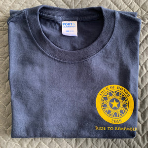 2019 Shirt, gold ink on blue