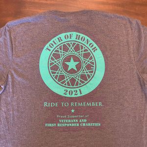 Add'l 2021 Shirts, sea green ink on blue heather.