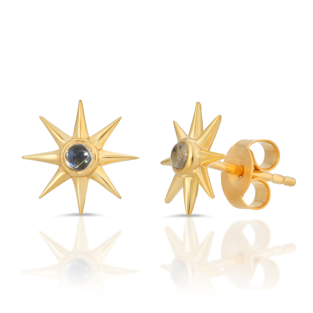 Sunburst Gem Studs - Rainbow Moonstone