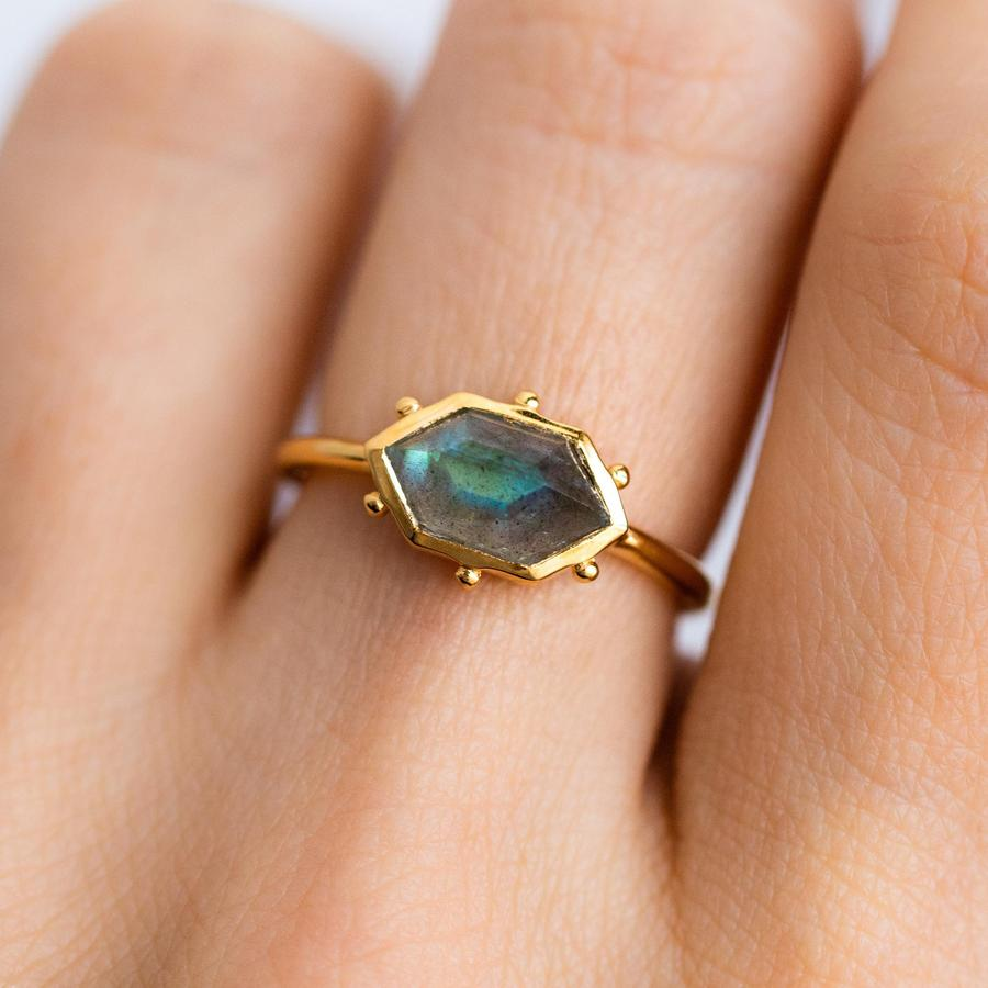 Hex Ring - Labradorite