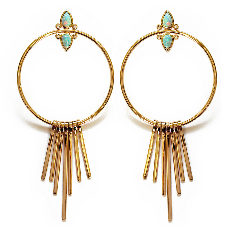 Gemstone Tear Drop Fringe Hoops- Aqua Opal