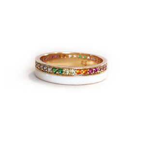 Pave Enamel Stacking RIng - Rainbow/White