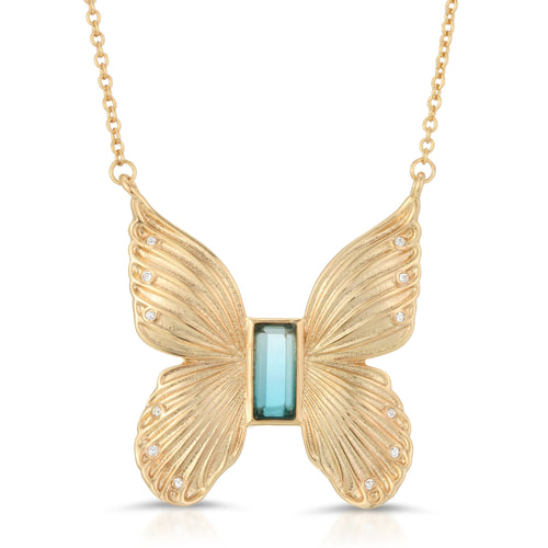 Gem Butterfly Necklace- Blue Tourmaline