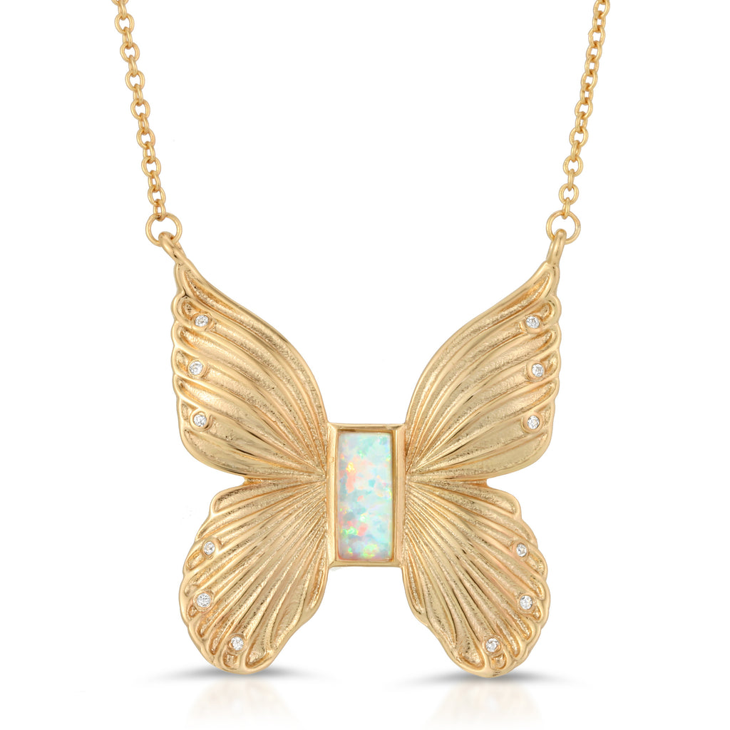 Gem Butterfly Necklace - Opal