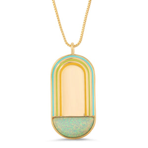 Rainbow Pendant Necklace- Aqua Opal