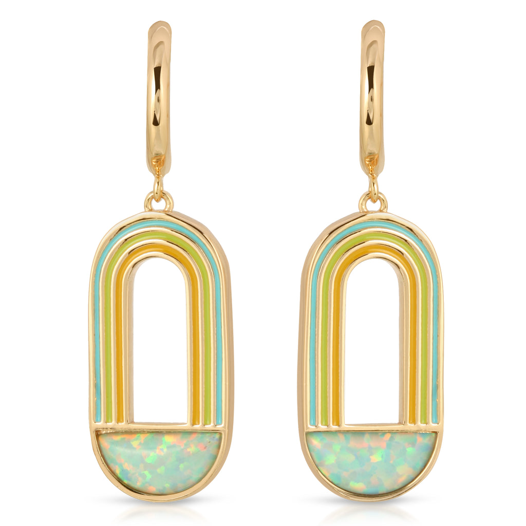 Rainbow Drop Earring- Aqua Opal
