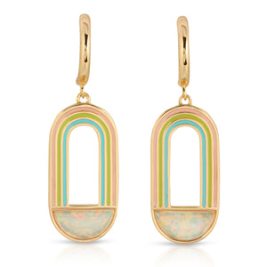 Rainbow Drop Earring- White Opal