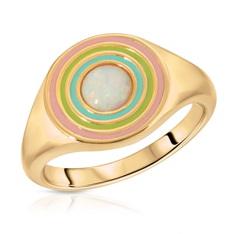 Rainbow Signet Ring- White Opal