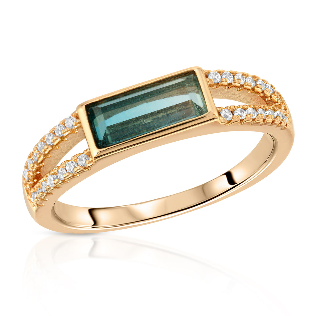 Gemstone Baguette Ring- Blue Tourmaline