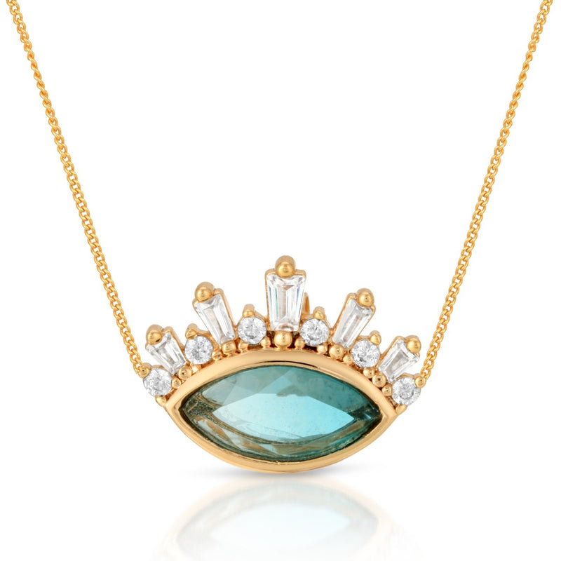 Athena Crown Pendant - Blue Tourmaline