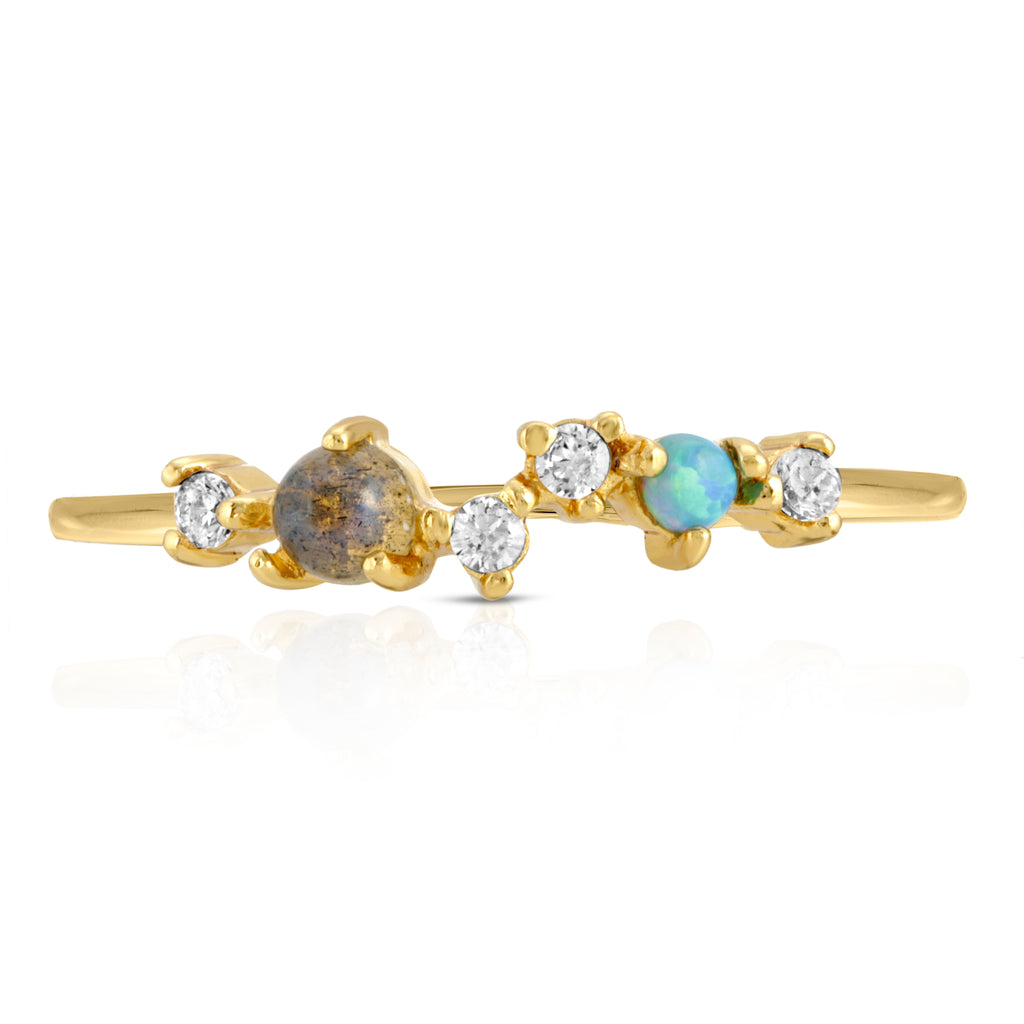 Starry Sky Stacking Ring - Labradorite and Blue Opal