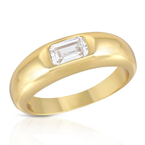 Dome Ring with Baguette Center