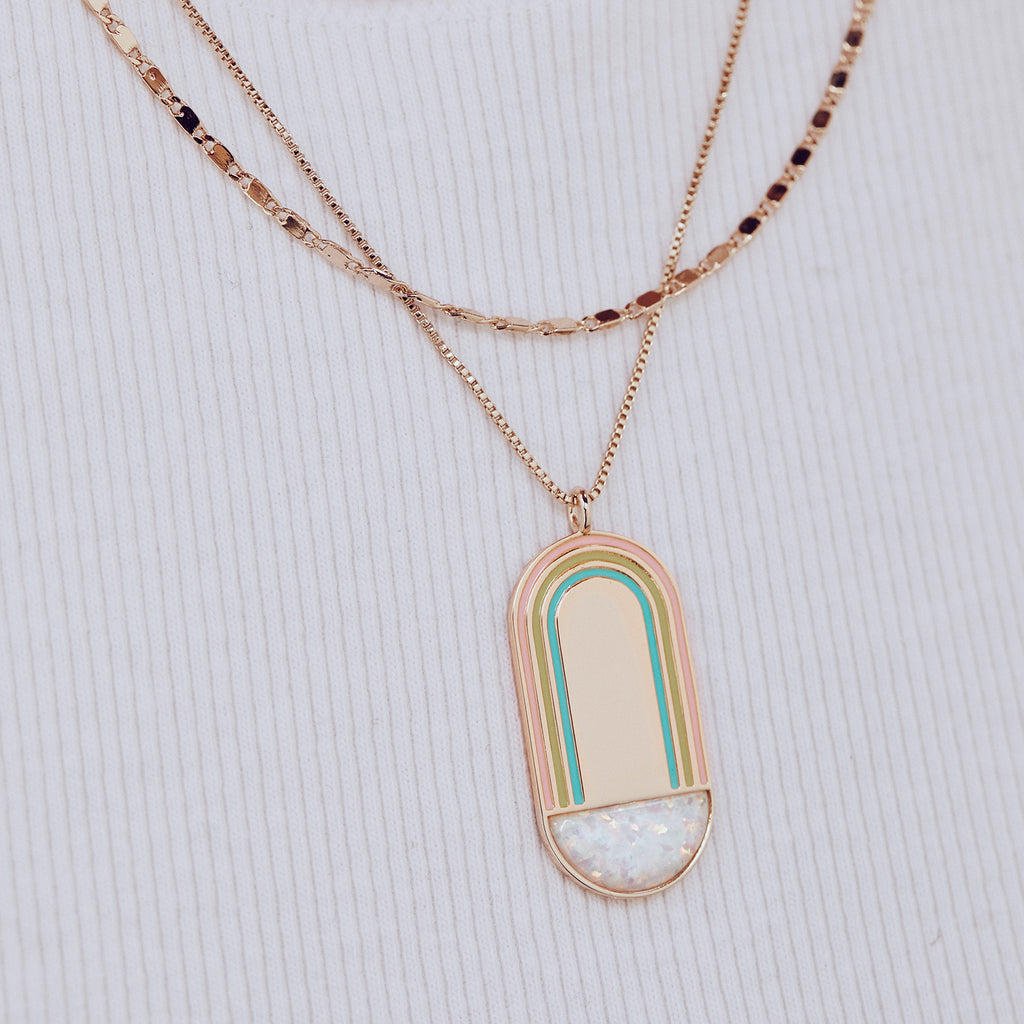 Rainbow Pendant Necklace- White Opal
