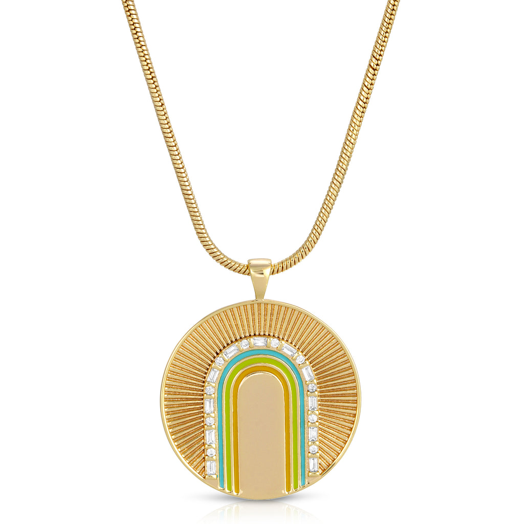 Rainbow Arc Coin Pendant - Ocean