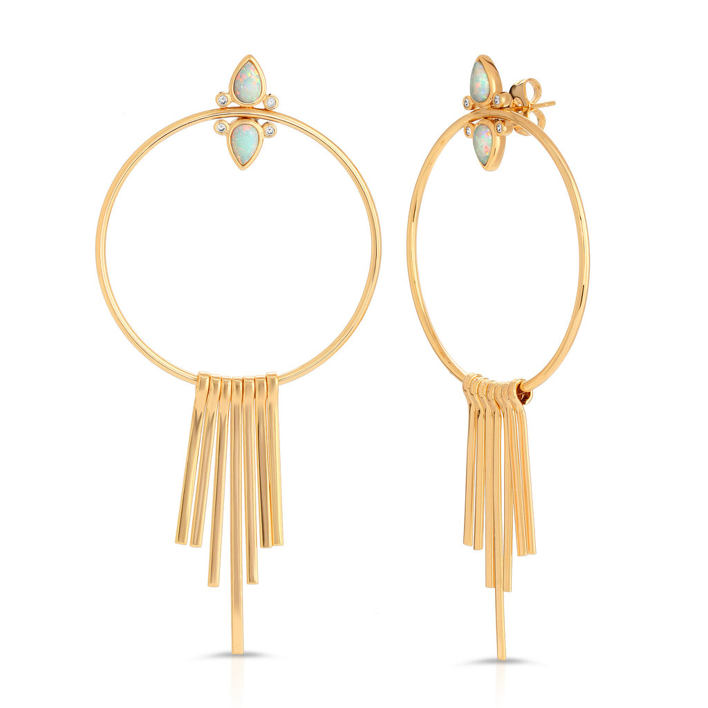Gemstone Tear Drop Fringe Hoops - Opal
