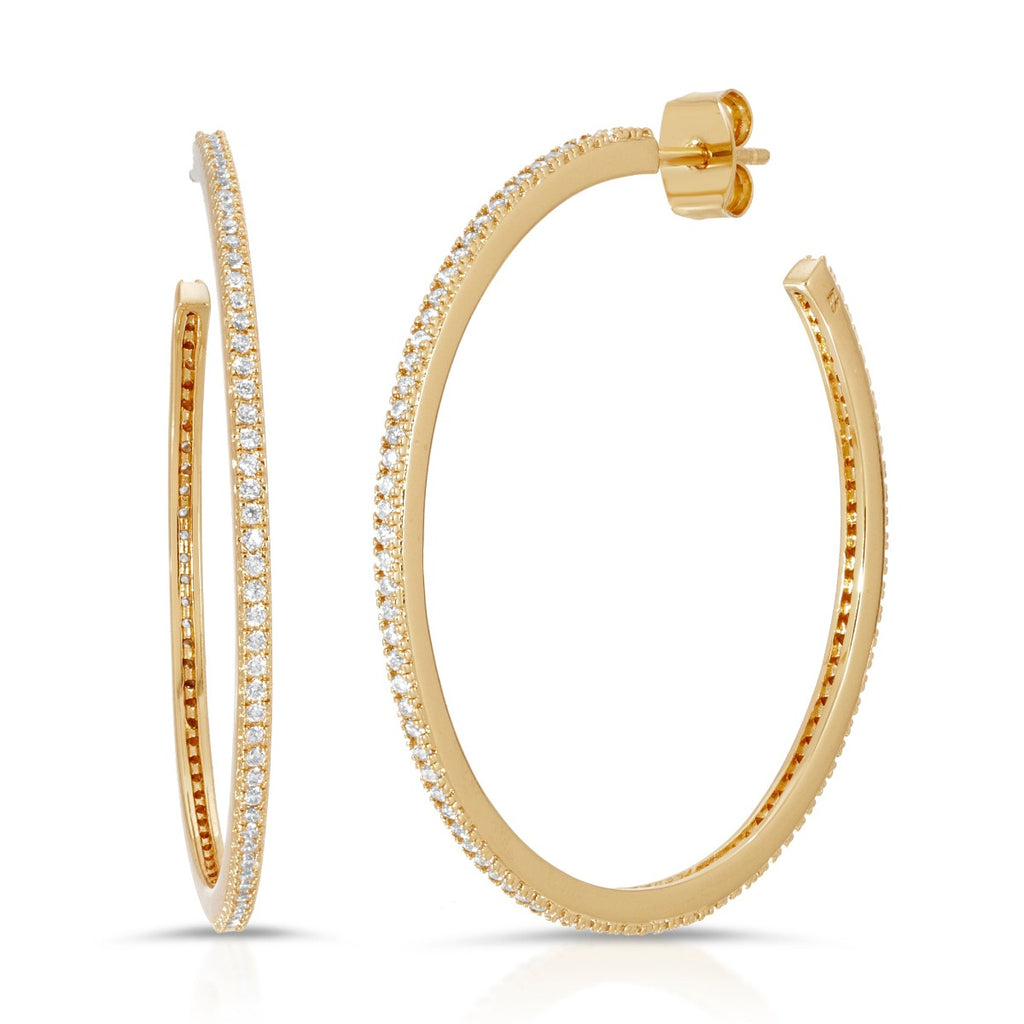 Skinny Pave Hoops - Gold