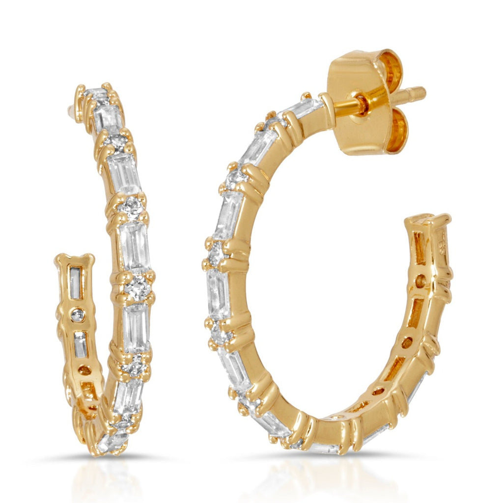 Medium CZ baguette hoops