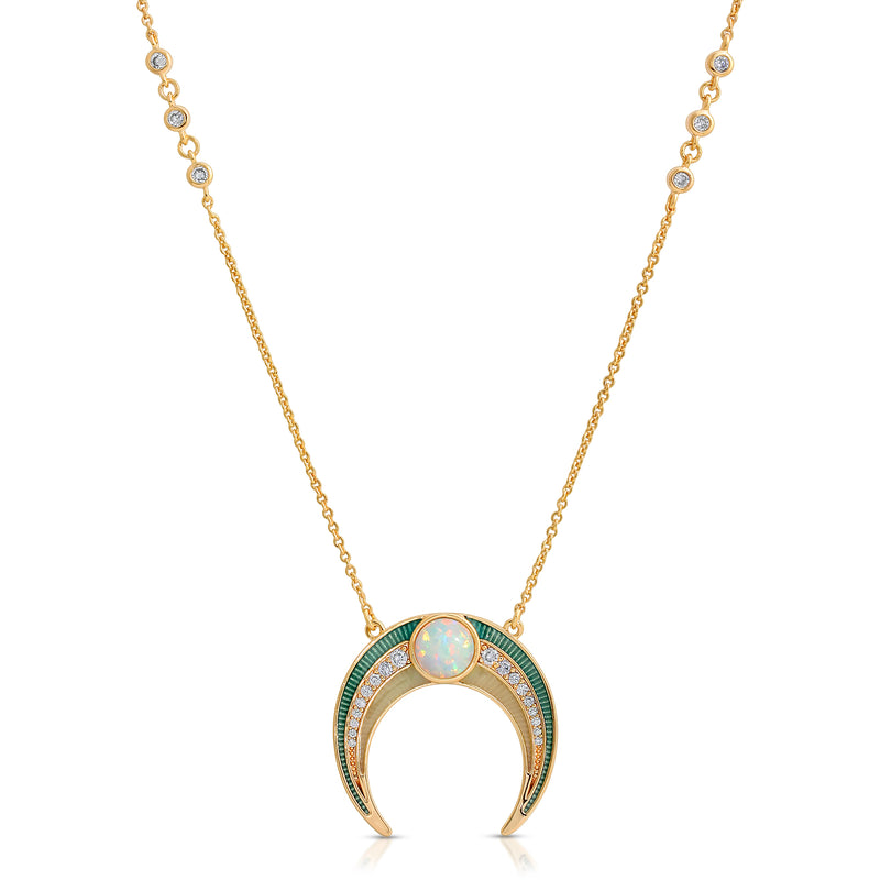 Gemstone Enameled Crescent - Opal