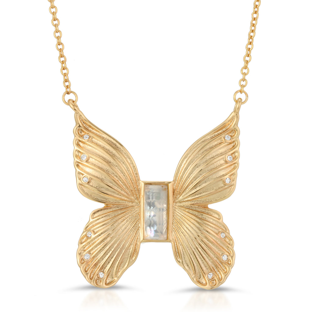 Gem Butterfly Necklace- Cracked Mother of Pearl