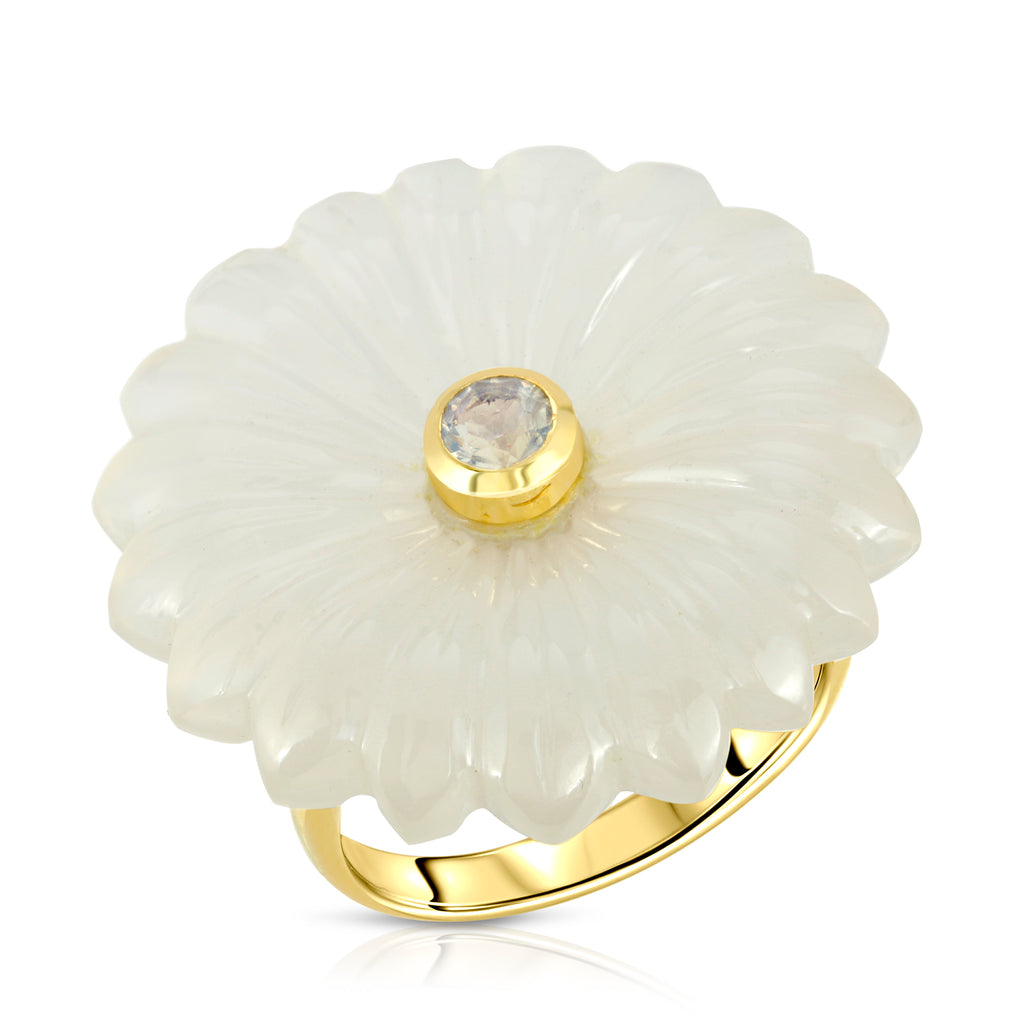Flora ring - White  Chalcedony & Moonstone
