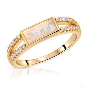 Gemstone Baguette Ring- Cracked Mother of Pearl