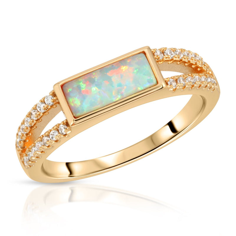 Gemstone Baguette Ring - Opal