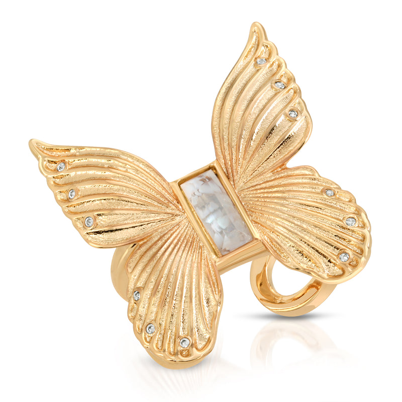Butterfly Gem Ring- Cracked Mother of Pearl