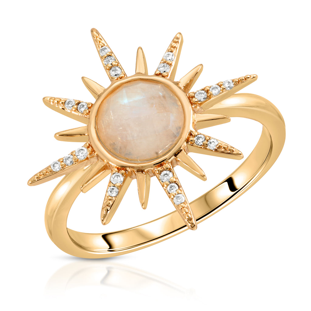 Moonstone Starburst Ring - 14k gold