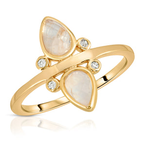 Gemstone Tear Drop Ring - Moonstone