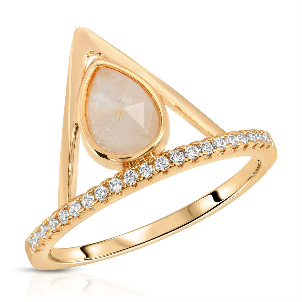 Pave Triangle Ring - Moonstone