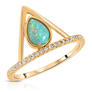 Pave Triangle Ring - Opal (Aqua)