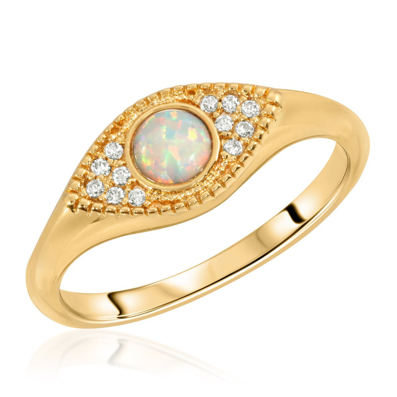 Gemstone Evil Eye Signet - Opal