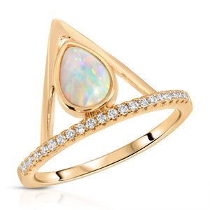 Pave Triangle Ring - Opal