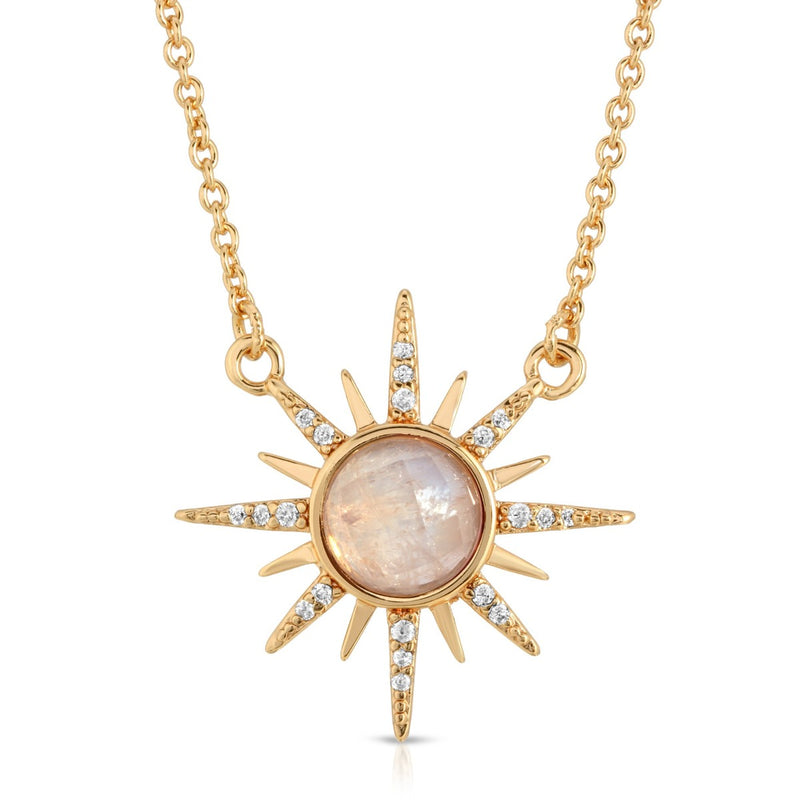 Gemstone Starburst Necklace - Moonstone