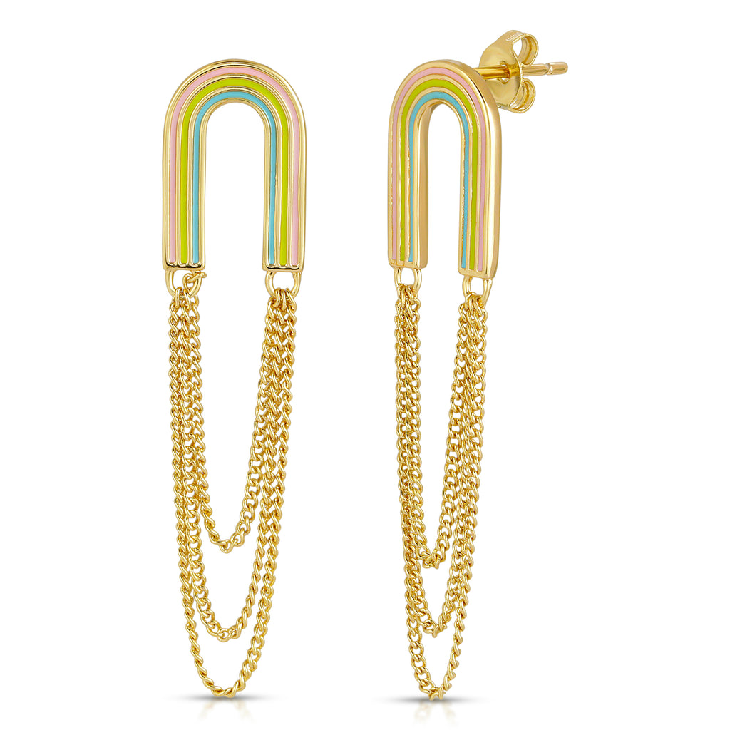 Rainbow Arc Drop Earrings - Bright