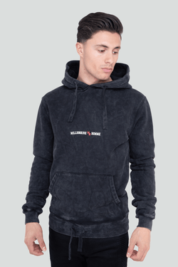 Classic Logo Pullover Acid Wash Black Hoodie