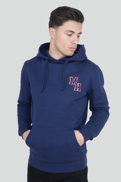 Boucle Logo Pullover Navy Hoodie