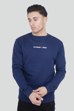 Contrast Zip Detail Navy Jumper