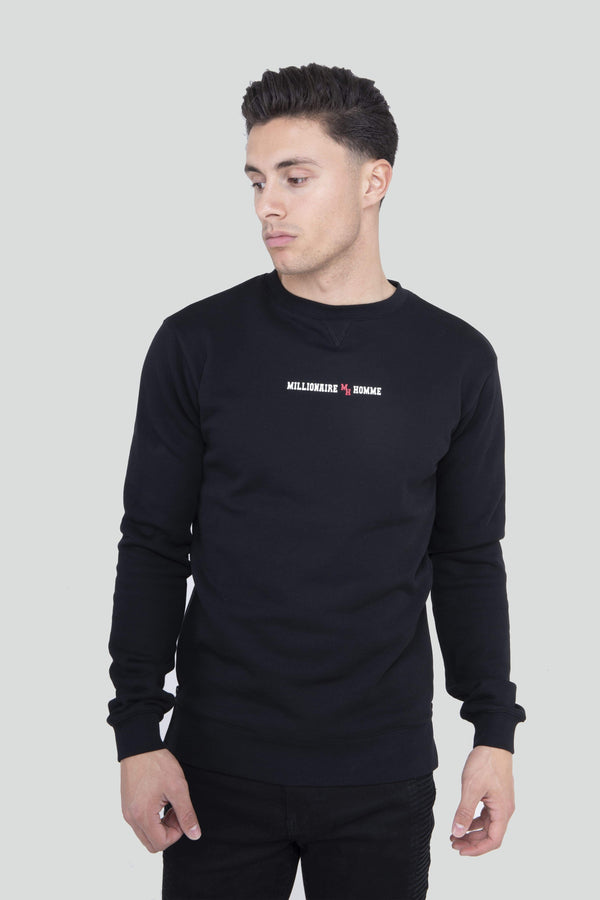 Contrast Zip Detail Black Jumper
