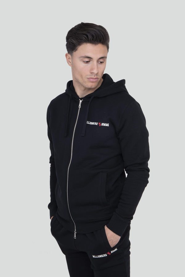 Classic Logo Black Zip Through Hoodie