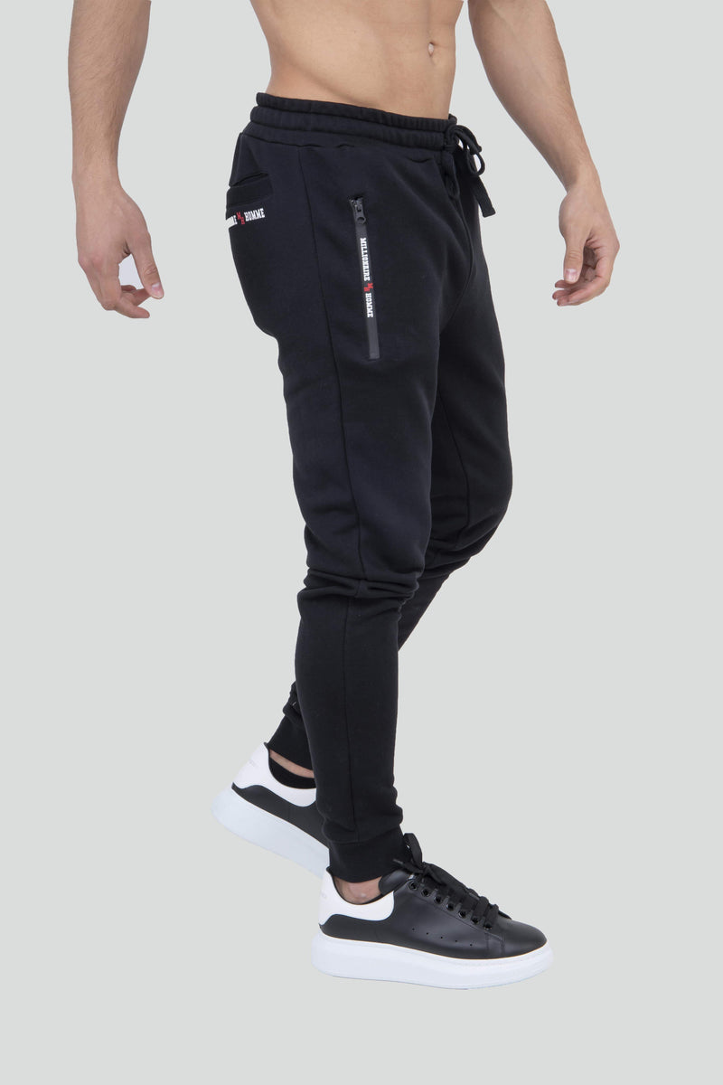 Zip Detail Cuff Black Jogger