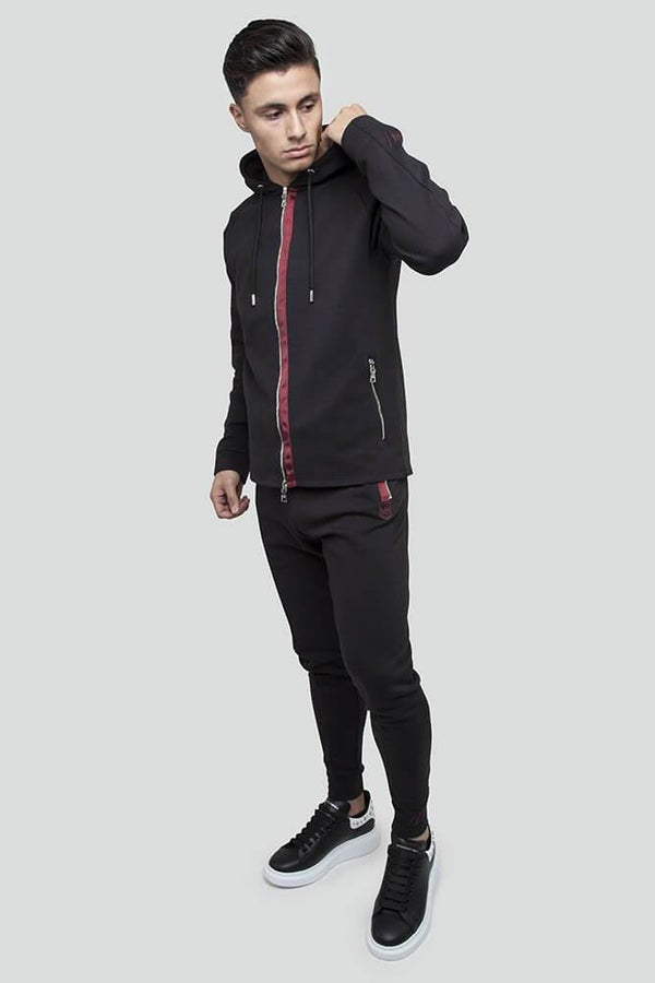 Jacquard Rib Zip Through Black Hoodie