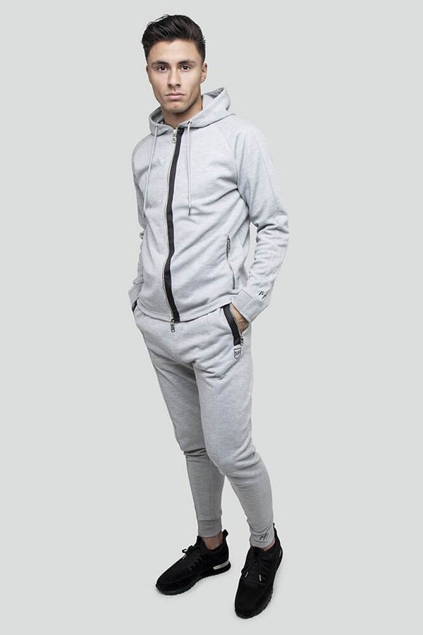 Jacquard Rib Zip Through Grey Hoodie