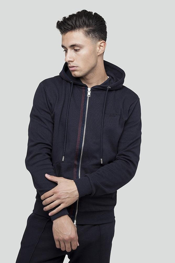 Kilo Zip Through Navy Hoodie